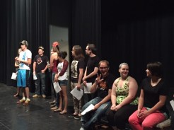 Student Ambassadors, Senate and Resident Advisor's prep for NSO with skits.